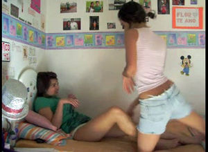Four hot teen lesbians having making..