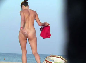 Nudists dolls poons on beach spy webcam