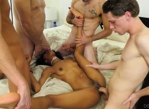 dark-hued cockslut group-fucked by..