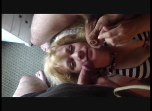 Spunking on face of mature wifey