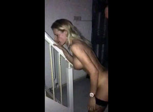 Hot fuckslut screwed on the stairs